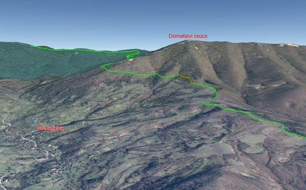 A Domafalvi csúcsot körbekerülő szakasz